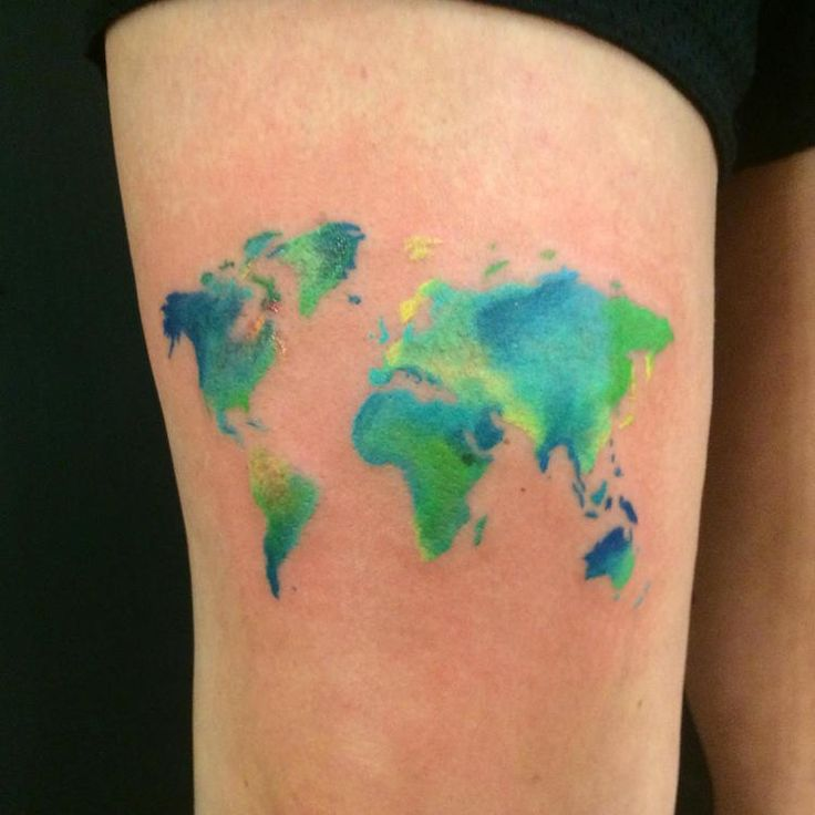 Watercolor world map tattoo