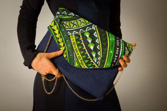 """Pochette sac """"Papeete"""" pour femme, chainette dorée, imprilmé wax vert et jean brut : Sacs à main par all-by-k"""