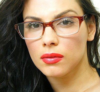 Classic Rectangular Sexy Teacher Gradient Wine Clear Lens Eyeglasses Glasses