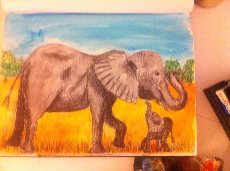 Olifanten pen en ecoline
