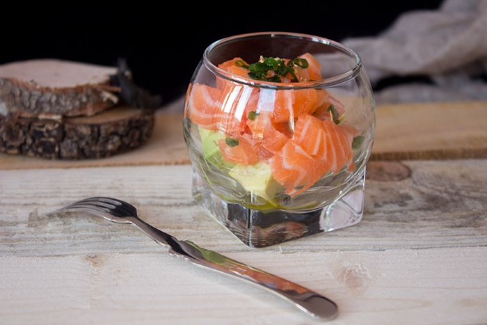 Salmon tartare and avocado verrine
