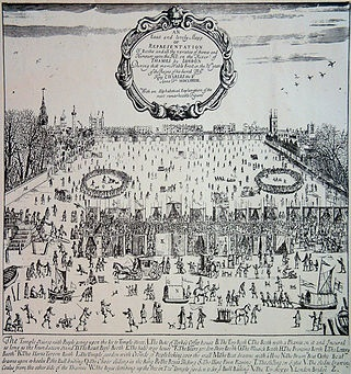 The Frost Fair of 1683 on the River Thames, London.