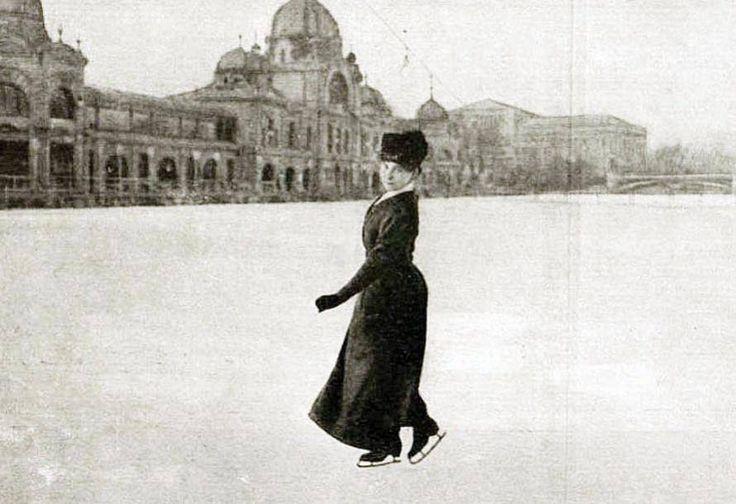 1900-as évek. Kronberger Lili műkorcsolyázó világbajnok a Városligeti Műjégpályán