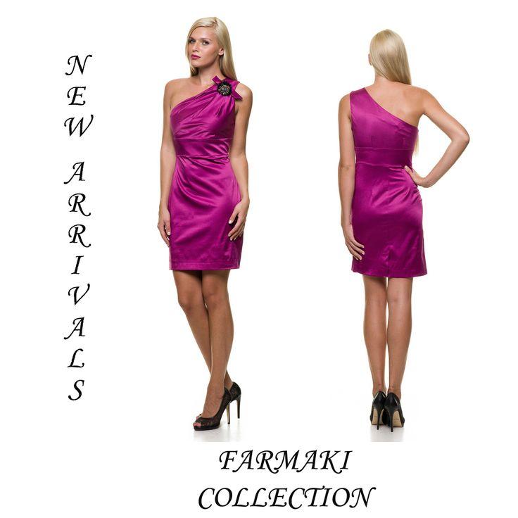 Φόρεμα κοντό ίσια γραμμή με ένα ώμο. 'Υφασμα βαμβακοσατέν.