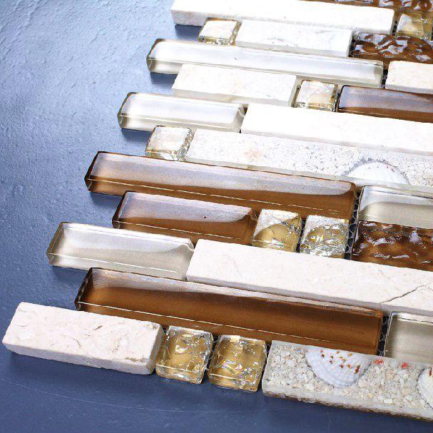 Стекло камень централизации смолы мозаика хаки бежевый полосатый кухня щитка плитка для ванной стены, полы, стекло и мрамор, мозаика