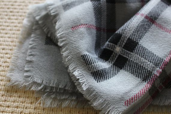 vintage wool scar tartan checkered Grey Black  red by againinlove, £12.00