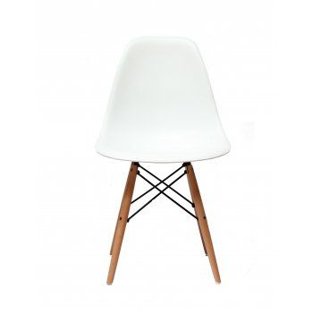 Wooden Legs White Moulded Plastic Kitchen Chair  http://www.mdmfurniture.com/furniture-c24/chairs-c28/charles-eames-charles-eames-style-dsw-eiffel-white-dining-chair-p133