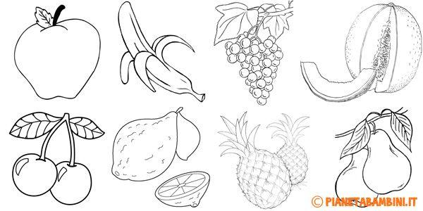 Disegni di frutta da stampare e colorare