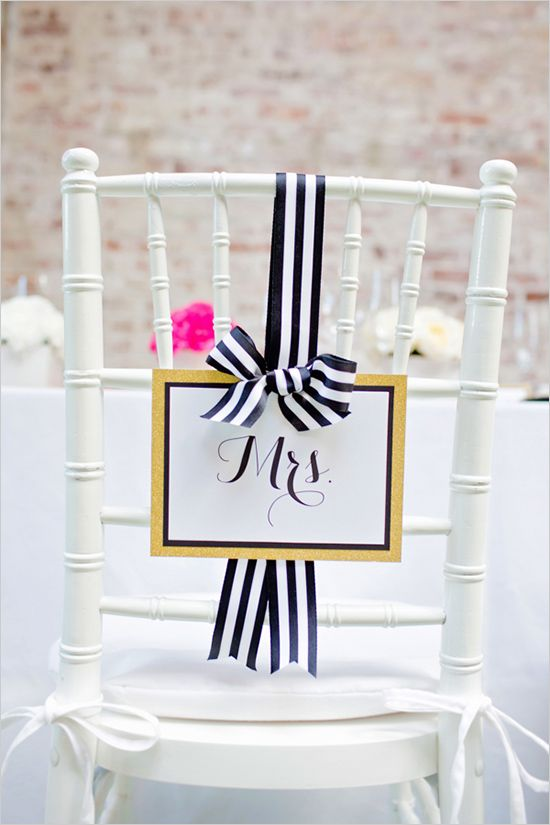 mrs wedding seating sign in Modern Black and Gold Wedding Ideas featured on Wedding Chicks! // http://www.weddingchicks.com/2013/12/31/black-and-gold-wedding-ideas/