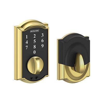 Schlage Touch? Electronic Touchscreen Deadbolt with Camelot Trim Finish: Bright Brass