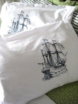 Screenprinted Nautical Pillow Covers by Oh Little Rabbit - eclectic - bed pillows and pillowcases - Etsy