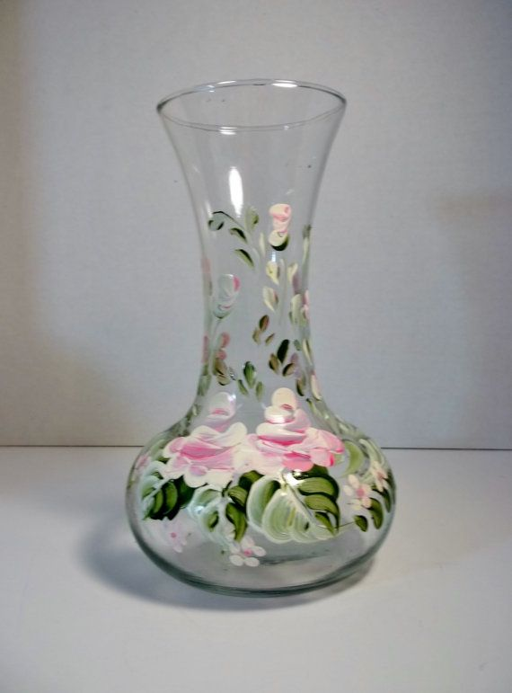 Vintage Glass Vase Rosemaling Roses Hand Painted by ...
