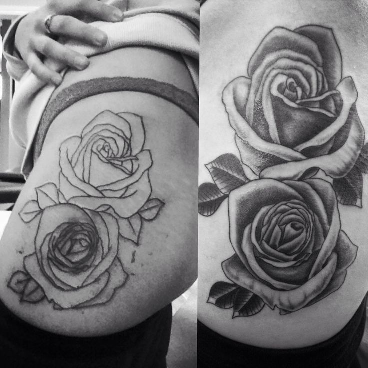 My first big piece rose tattoo on hip thigh about 2 for Tattoo rose on thigh
