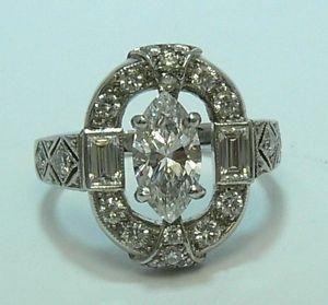 1920's Art Deco platinum diamond ring
