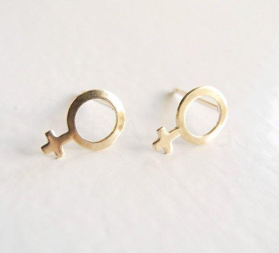 Feminist Earrings, Feminist Gift, Girl Power, Feminist Jewelry, Tiny Stud Earrings, Venus Symbol, Sterling Silver Hypoallergenic (E263)