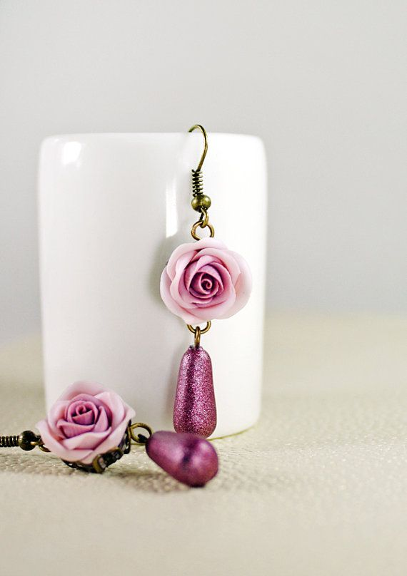 violet rose earrings, pink rose earrings , jewelry , bronze, polymer clay handmade