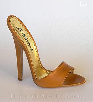 ItalianHeels.com: slippers: Ametista 2360 - 6'  stiletto Cinnamon Slippers