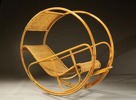 FRANCO BETTONICA - Dondolo, woven cane rocking chair, circa 1960