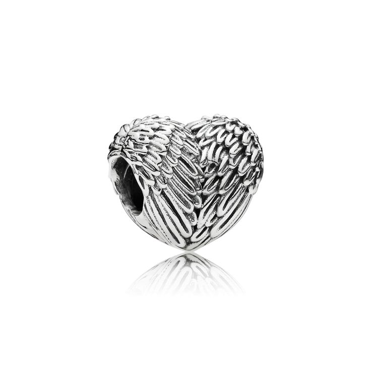 PANDORA | Heart silver charm with angel wing detail