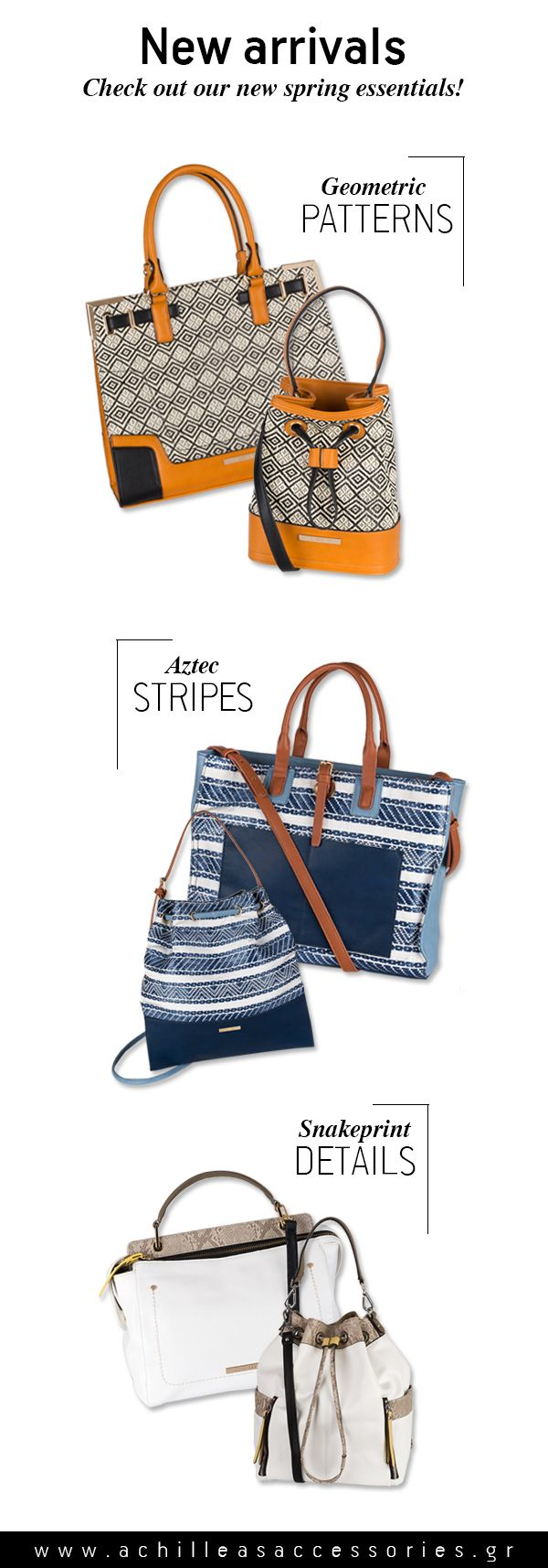 Aztec prints, geometrical patterns and snakeprint details. New arrivals, now available! #accessories #bags #ss16
