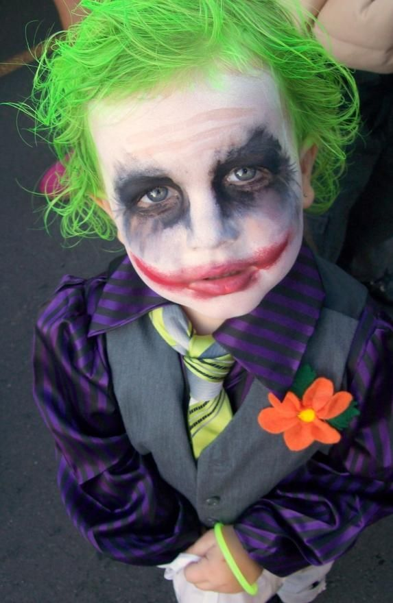 Homemade baby joker costume.