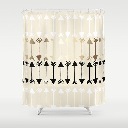 Arrows Shower Curtain >> Gold, White, Black