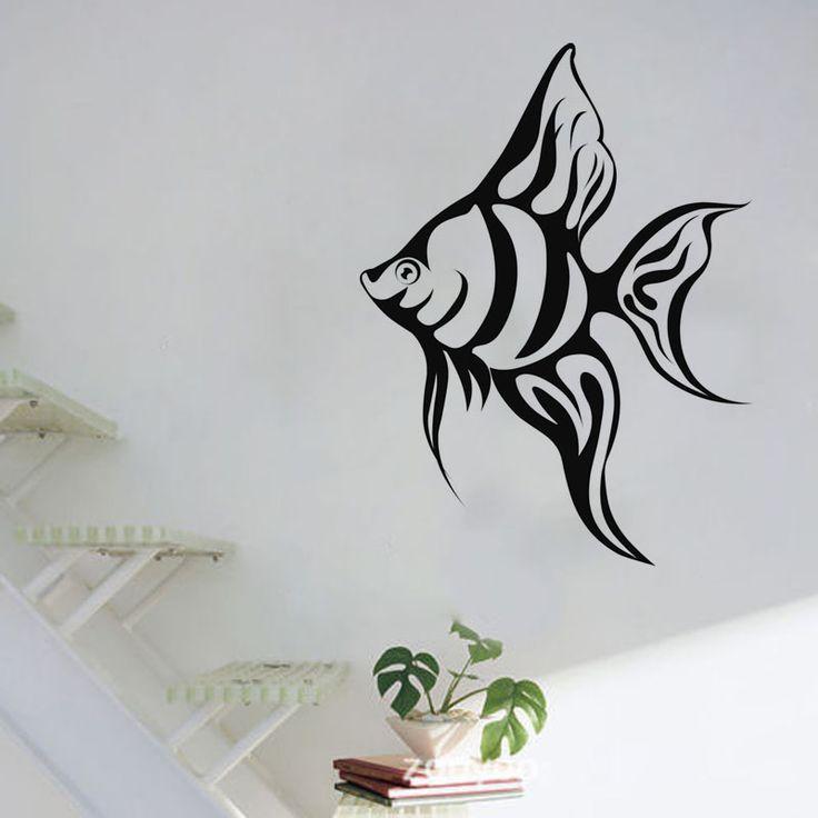 DCTOP Шт Тропические Рыбы Наклейки На Стены Гостиной Выдалбливают Декоративные Море Животных Виниловые Наклейки