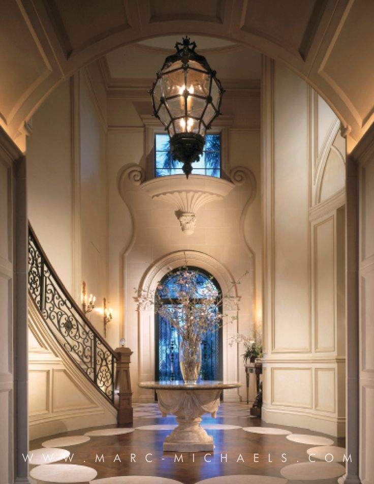 Classic mediterranean foyer wrought iron staircase high for Foyer ceiling design