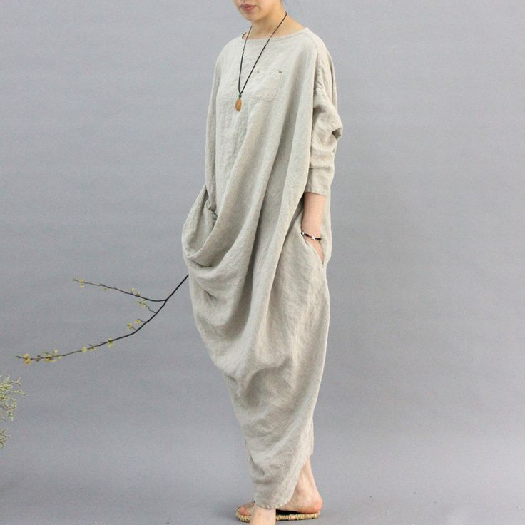 100% linen kaftan,extravagant long dress, holiday trip,women linen maxi dress, asymmetry robe dress by MUDANFLORAL on Etsy
