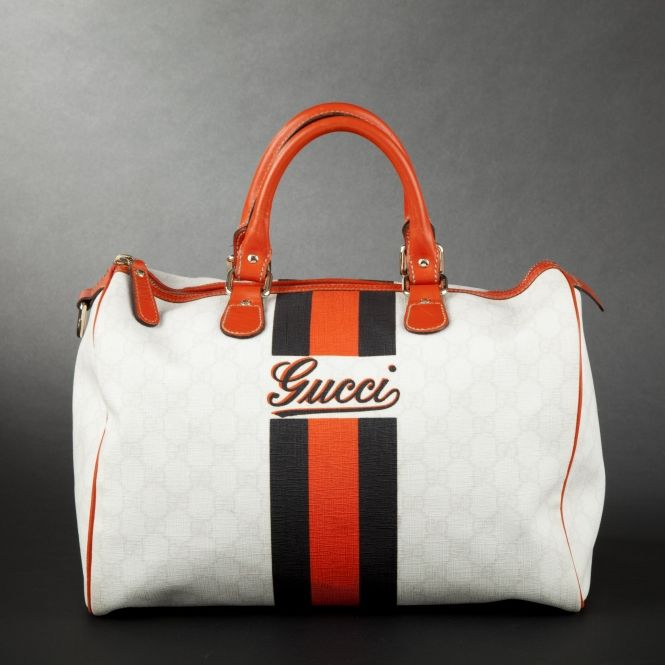Gucci. Canvas cabin bag with bi-color band (a favourite repin of VIP Fashion Australia - providing a portal to exclusive fashion and style from across the globe. www.vipfashionaus... - Specialising in blacklabel fashion - womens clothing Australia - global fashion houses - Italian fashion - fashion au and fashion boutiques - enter my cat walk )