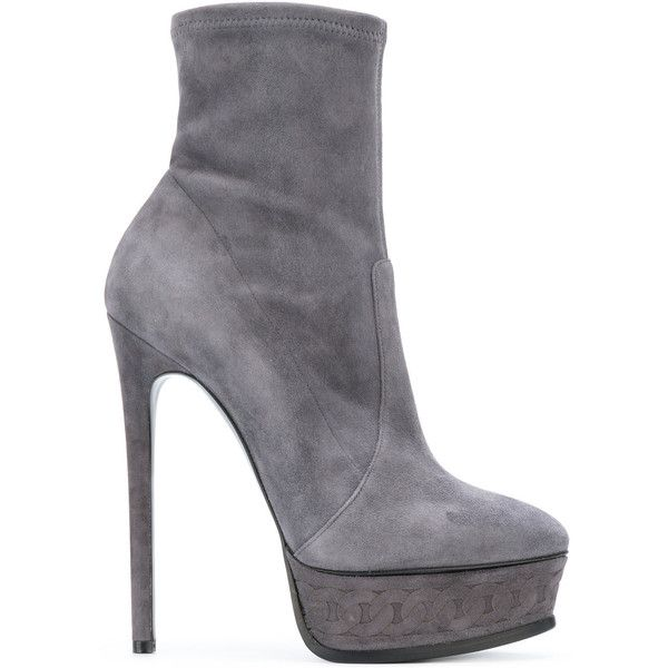 Casadei platform ankle boots ($533) ❤ liked on Polyvore featuring shoes, boots, ankle booties, grey, grey leather boots, leather boots, leather ankle booties, grey leather booties and leather bootie