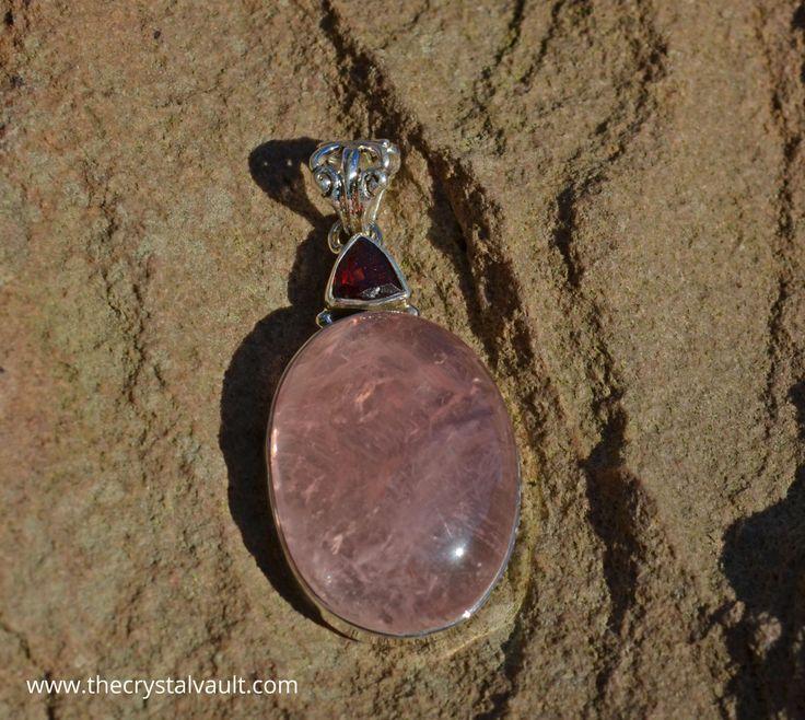 Rose Quartz & Garnet Sterling Silver Pendant