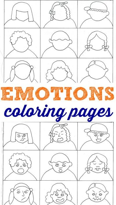 Emotions coloring pages for kids. Great way to learn about feelings.