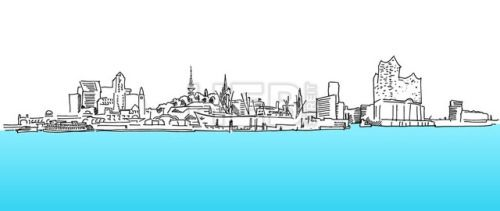 #Hamburg Panorama Vector sketch blue water #ArtIllustration #Landscapes #Travel  #Abstract #Aster #Attractions #Background #Black #Bridge #Building #Church #City #Contour #Drawing #Elbe #Elphilharmony #Hamburg #Hamburger #Havencity #Line #Monument #Museum #Panorama #Port #Silhouette #Sketch #Skyline #Skyscraper #Store #TelevisionTower #Tourism #TownHall #University #Vector #Water #White