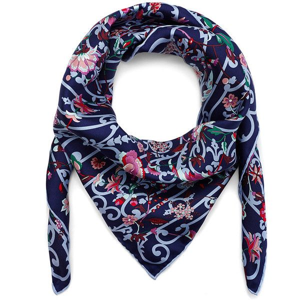 Liberty London Garden Gates Scarf - 90x90cm - Navy ($265) ❤ liked on Polyvore featuring accessories, scarves, blue, navy blue shawl, print scarves, navy scarves, blue scarves and floral shawl