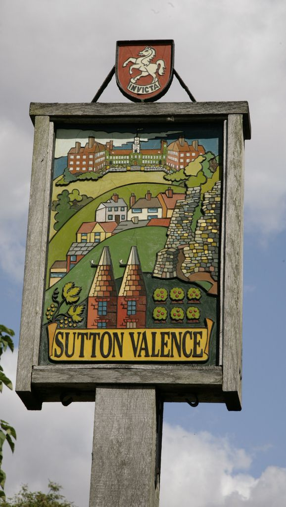 Sutton Valence village sign, Kent, England. www.adamswaine.co.uk