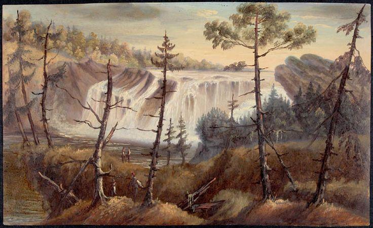 Les chutes Chaudières, Lévis, Québec, par Joseph Légaré, ca 1840. Crédit: Bibliothèque et Archives Canada, no d'acc R9266-546 Collection de Canadiana Peter Winkworth.