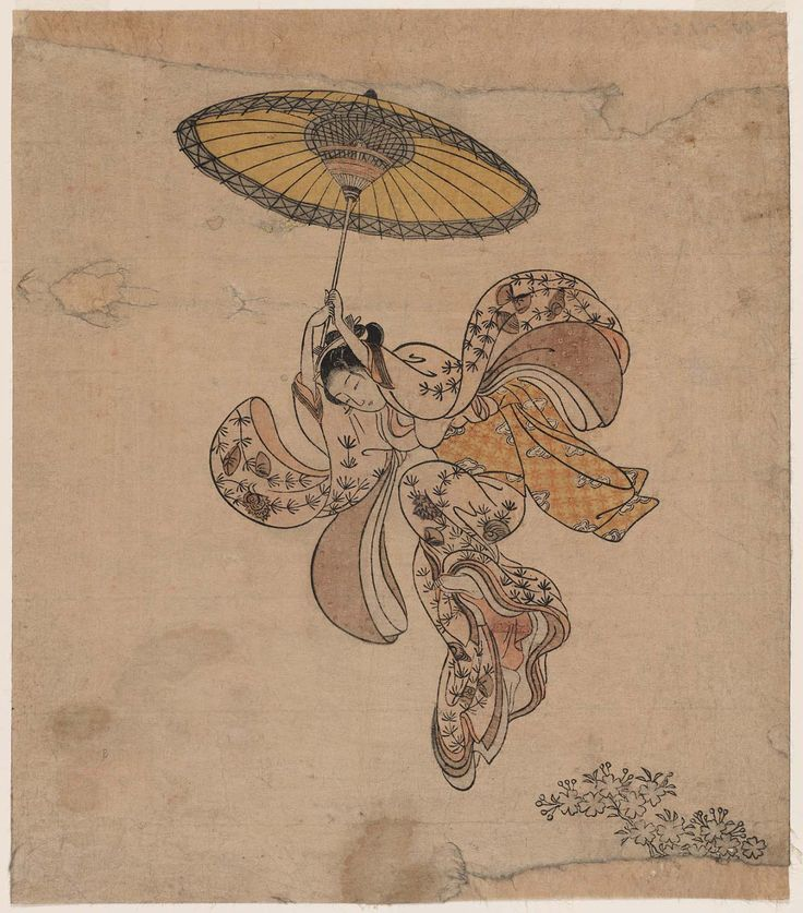 Suzuki Harunobu Young Woman Jumping From The Kiyomizu Temple Balcony With An Umbrella As A Parachute
