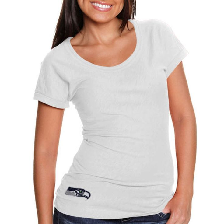 Cutter & Buck Seattle Seahawks Double Team Slub Scoop Neck T-Shirt - White