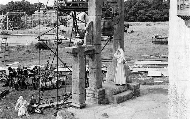 Filming of Black Narcissus (1947). The bell tower in the Himalayas was shot on the backlot at Pinewood.