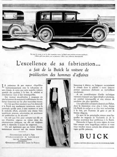 1928 Buick Sedan original vintage French ad. Excellence in construction has made Buick the car of choice among businessmen.