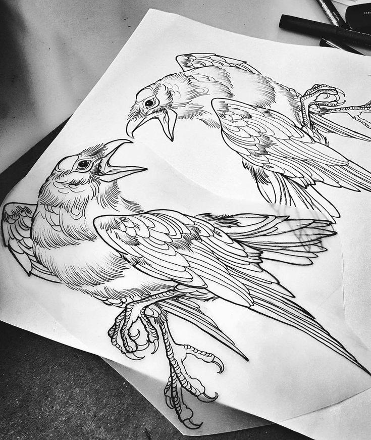 Line work raven tattoo