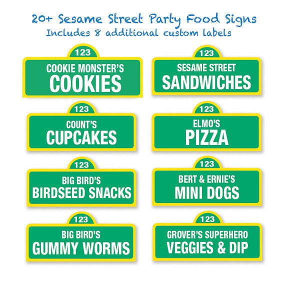 Sesame Street Printable Food Labels / 20 and Custom Labels - Sesame Street…