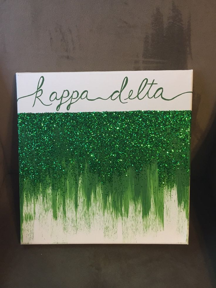 Kappa Delta Glitter Green Ombre Big Little Canvas by CrimsonPearls on Etsy https://www.etsy.com/listing/216746232/kappa-delta-glitter-green-ombre-big