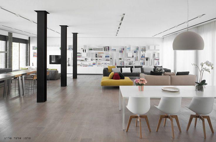 Living & Dining: White ceiling & wooden floor.