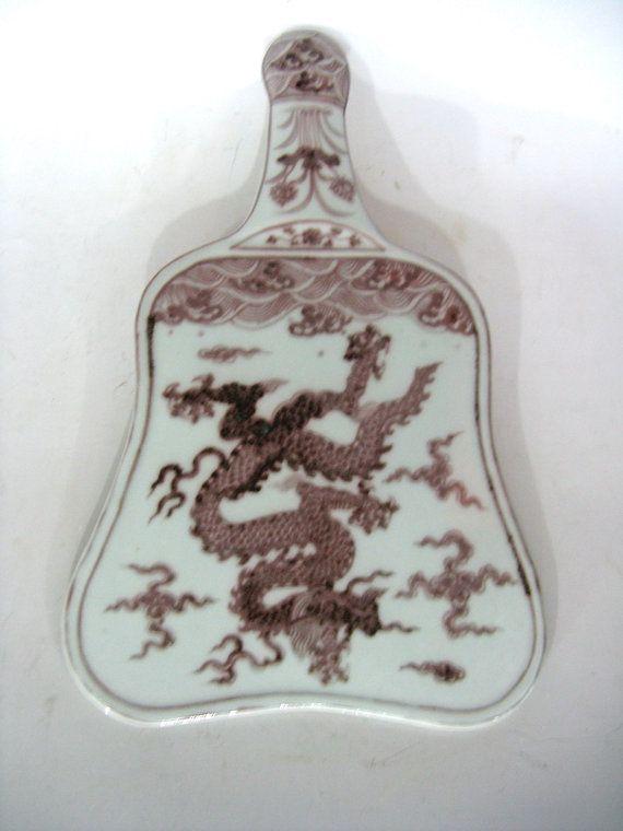 Artisanat Oriental Antique chinois décor sous glaçure rouge porcelaine Dragon Fan W vous avez la chance gratuit navire TB360