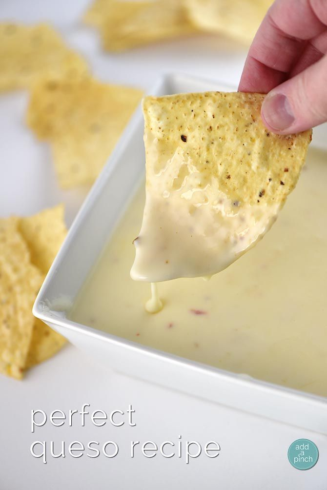 Perfect Queso Recipe - Make this restaurant favorite at home! So easy and quick! Delicious! from addapinch.com