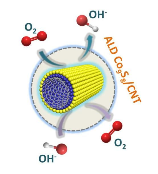 Advances in Engineering features: Atomic-layer-deposited ultrathin Co9S8 on carbon nanotubes: an efficient bi-functional electro-catalyst for oxygen evolution/reduction reactions and rechargeable Znair batteries