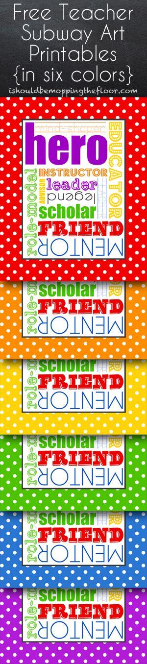 Free Teacher Subway Art Printables in Six Color Choices #TeacherAppreciation