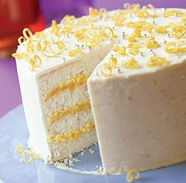 Triple-Lemon Layer Cake: This light and tender special-occasion layer cake is flavored with lemon, layered with tangy lemon curd, and coated with a voluptuous lemony butter frosting, making it triple-delicious. Via FineCooking